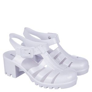 BAMBOO Shoes - 🚫SOLD🚫 Bamboo White Jelly Chunky Heel Sandal